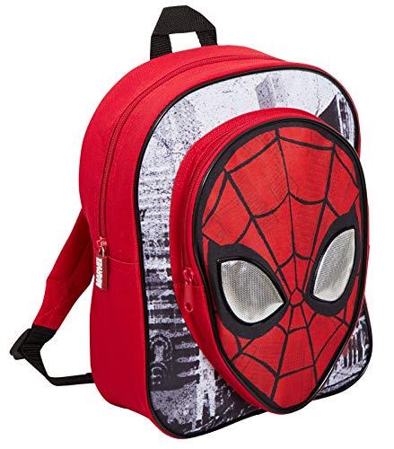 Marvel Spiderman - Mochila para niños con bolsillo, diseño de Los Vengadores, ojos reflectantes, color azul, Rojo (Rojo) - MNCK13034