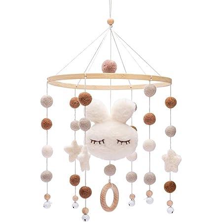 Promise Babe Mobile en bois pour bébé avec boules de feutre Cloche suspendue pour chambre d'enfants Carillons éoliens mobiles Bunny pour lit de bébé (Blanc)