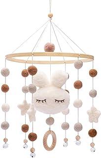 Promise Babe Mobile en bois pour bébé avec boules de feutre Cloche suspendue pour chambre d'enfants Carillons éoliens mobi...
