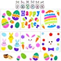 6 Sheets Easter's Day Gel Clings Window Stickers for Glass Window Refrigeratiors Home Room Door Decorations, Jelly Window Stikers for Kids Children…