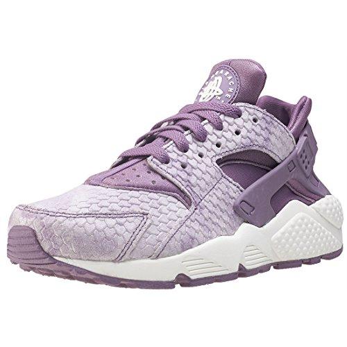 Nike Wmns Air Huarache Run PRM - Zapatillas de Deporte Mujer - Blanco/metálico Cool Gris Rojo Ciruela, 37.5