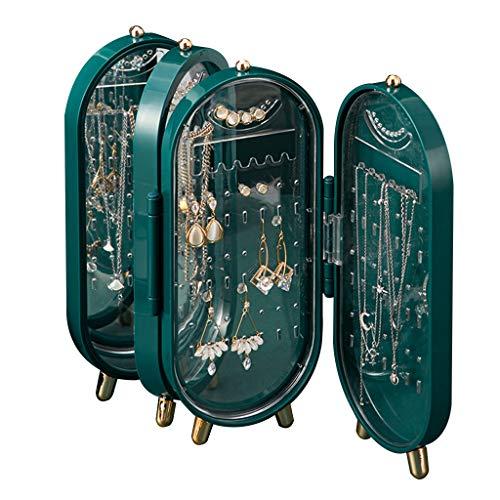 Joyería Caja de Almacenamiento Alta Gama Colgador de Collar Soporte de exhibición de Pendientes Joyero Plegable (Color : Green, Size : 11 * 6 * 23cm)