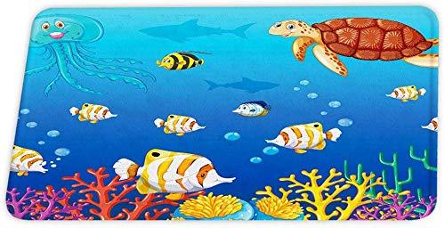 downthrow Ozean Tiere korallen samt Bad teppiche meeresschildkröte Fische Octopus rutschfeste duschmatte für Badezimmer dekor tür Carpet bodenmatte
