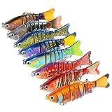 MKNzone 1 Multi-articulées 10 cm/15.61g Señuelo de Pesca Realista de 7 Segmentos,2 anzuelos triples Cebo para Lucio(8 Colores aleatorios)