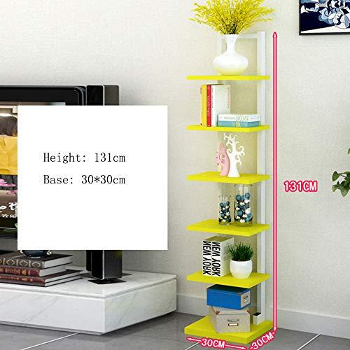 Mensole Duo 7 Tires Bookcase Book Shelf Book Tower Shelf Libreria Scaffale Grande Magazzino con 9 Colori Scaffali (Colore : Giallo)