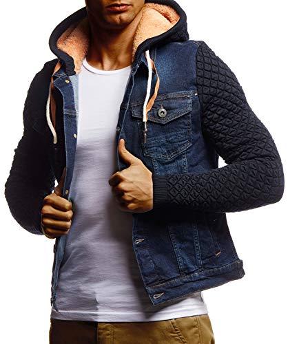 Leif Nelson Herren Jeansjacke schwarz Jeans Jacke für Männer Freizeitjacke Übergangsjacke mit Kapuze Hoodie Kapuzenjacke verwaschen Casual Slim Fit LN9630 LN9630 Blau Large