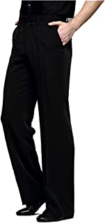 YILINFEIER Men Professional Black Straight with Pocket Belt Wide Latin Modern Square Practice Dance Pants