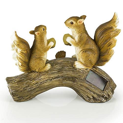 Dawhud Direct Squirrels on a Log Solar Powered Outdoor LED Garden Light