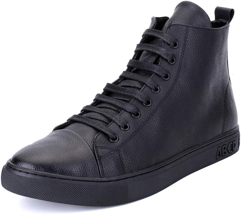 Herren Stiefel Casual High Top Stiefel Mikrofaser Leder Flache Flache Vegane Board Schuhe Leichte Schnürsenkel Runde Kappe Anti-Slip,Grille Schuhe (Farbe   Schwarz, Größe   43 EU)