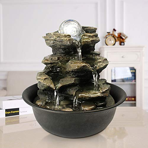 xpiyaer 8.3' High 4-Tier Cascading Rock Falls Tabletop Water Fountain with LED Light & Spinning Ball - Indoor Small Waterfall Feature for Office, Home and Bedroom Desktop Decor