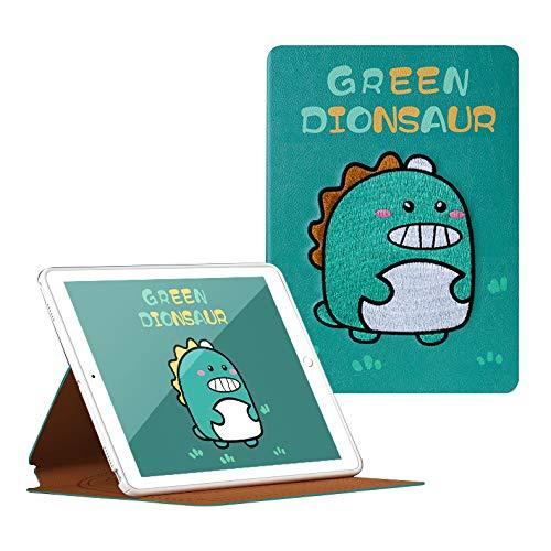 HaoHZ Funda para iPad 8/7 Generación 10,2 Pulgadas (2020/2019), Funda Protectora con Bordado Tradicional, Funda Tipo Folio con Respaldo Suave, Reposo/Activación Automático,Dinosaur