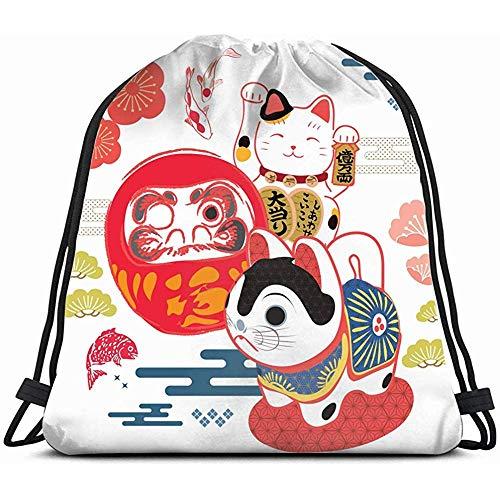 EW-OL Glücksbringer-Symbol Japanisches Schriftzeichen Hintergründe Asiatischer Rucksackbeutel Unisex