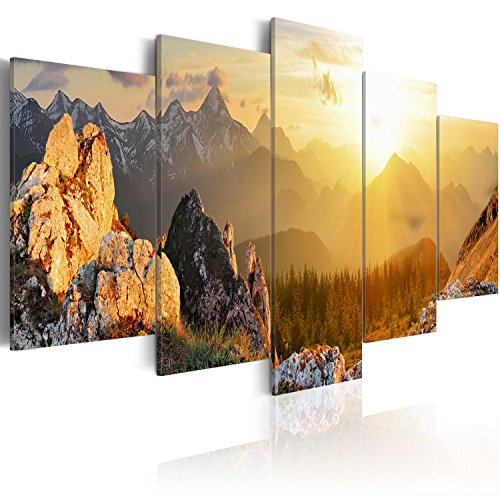 murando - Bilder Landschaft Gebirge 200x100 cm Vlies Leinwandbild 5 TLG Kunstdruck modern Wandbilder XXL Wanddekoration Design Wand Bild - Natur Berge c-B-0056-b-m