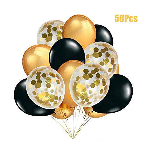 MAKFORT 56 Stück Luftballons Gold Schwarz und Gold Konfetti Luftballons mit Luftschlangen Für Geburtstag Hochzeit Party Deko Gold Schwarz Party Dekoration