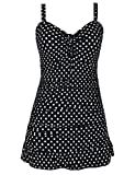 Septangle Plus Size Swimwear Bathing Suit for Women Skirts Swim Cover Up Sexy One Piece Swimsuits (US 24, Black & White Polka Dots)