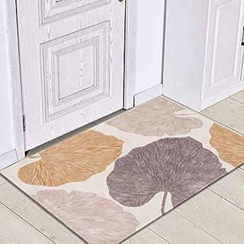 HLXX Felpudos con Estampado de Hojas, alfombras Lavables Antideslizantes en el baño, aptas para Suelo de Cocina y decoración del hogar A9 50x80cm