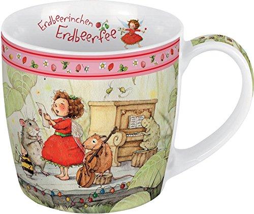 Porzellantasse Erdbeerinchen. Motiv Musik: Erdbeerinchen Erdbeerfee. Edle Porzellantasse, farbig bedruckt, in hochwertiger Geschenkbox: