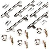 Namvo Sunriver - Juego de 10 tiradores para cajones y armarios (níquel cepillado, 5 unidades, 3 pulgadas, acero inoxidable)