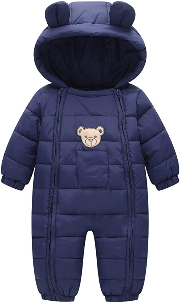 Baby Cotton Romper Toddler Thermal Double Zipper Hooded Windproof Snowsuit