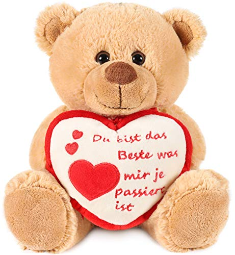 Brubaker Teddy Plüschbär mit Herz Rot Beige - Du bist das Beste was Mir je passiert ist - 25 cm - Teddybär Plüschteddy Kuscheltier Schmusetier - Braun Hellbraun