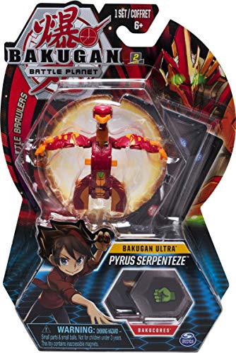 Bakugan Ultra, Pyrus Serpenteze, 3-inch Collectible Action Figure and Trading Card, for Ages 6 and Up