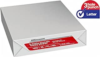 Office Depot Copy Paper, 3-Hole Punched, 92 Brightness, 20 lb, Letter Size (8.5 x 11), Ream, 500 Total Sheets (317321)