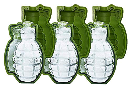 HINMAY Grenade Ice Cube Tray Silicone 3D Life Size Chocolate Candy Molds, Set of 3