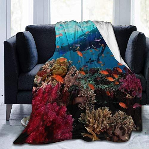 Nat Abra Manta Suave de Buceo Mantas de Lana térmica Ligeras para sofá Cama 50 x 40 Pulgadas / 127 x 102 cm