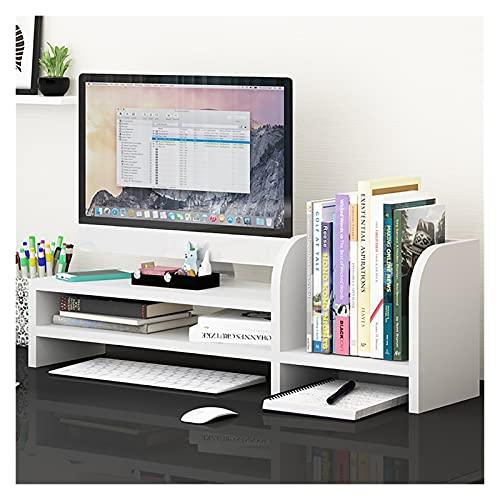 Monitor Soporte Riser 2 Nivel Escritorio Organizador Encimera librería Estantes de estantes para Suministros de Oficina Decoración para el hogar (Color : White)