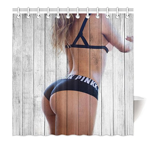 YISUMEI Hem Gewichte Vorhang Duschvorhang 120x180 cm Sexy Frau Bikini Holzmaserung