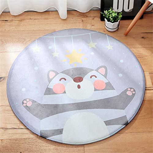 YUNSW Runde Flanell Karikatur Teppich Bodenmatte Ausgang Wohnzimmer Schlafzimmer Baby Bettnichtrutschende Kriechende Matte