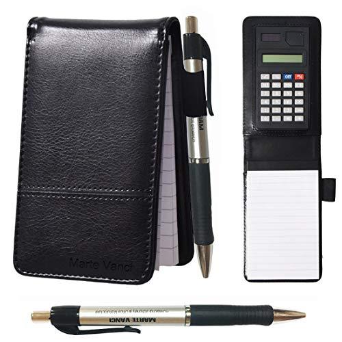 KXF A7 Leder-Notizbuch, klein, Einkaufs-Notizblock, handliches Notizblock, liniert, Reporter, mit Stift und Taschenrechner, austauschbarer Schreibblock, 60 Seiten