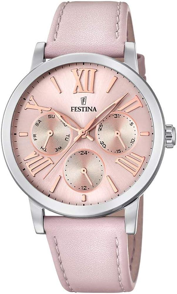 Festina orologio cronografo da donna con cassa in acciaio inossidabile cinturino in vera pelle F20415/2