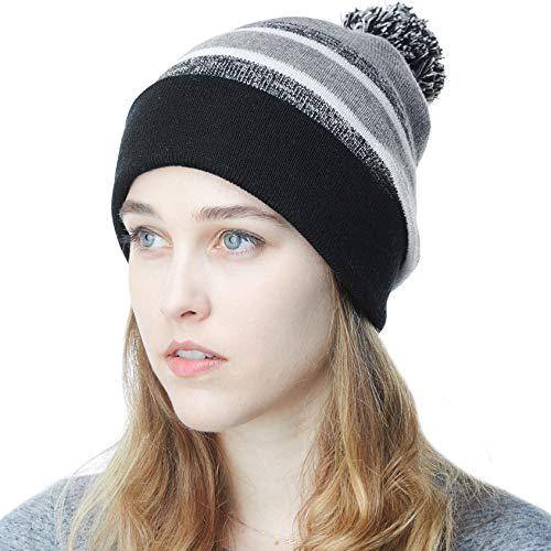 The Hat Depot Winter Soft Unisex Pom Pom Stripe Knit Beanie Skull Slouch Hat (Black/Heather Grey) - http://coolthings.us