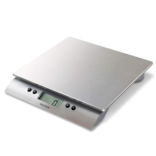 Balances de cuisine numériques Salter Aquatronic - Design en argent, balance électronique pour la maison, précision avec capacité élevée 10 kg Aquatronic pour liquides en ml et en fl. oz 15 ans