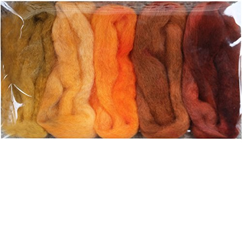 Needle Felting Roving Fiber for Felting Spinning Weaving Dryer Balls Soap Making and Embellishments. Color Sampler Pack of BFL Wool Hand Dyed in USA by Living Dreams. Harvest