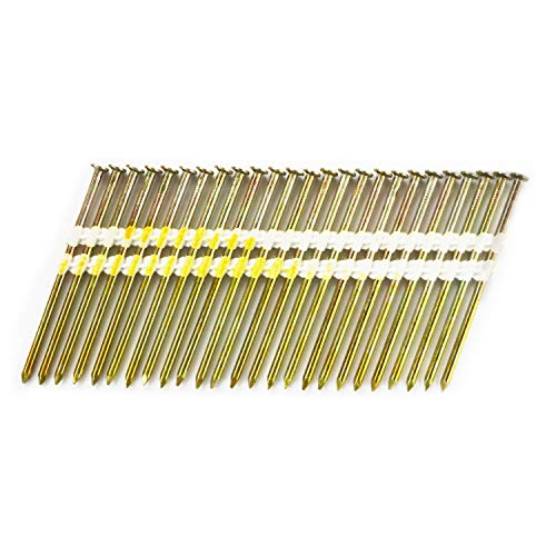 BHTOP 3 1/4 Inch Framing Nails, 21 Degree Bright Smooth Shank Plastic Collated Nails for Framing Nailer, 3 1/4 x .131,(1000 per Box)