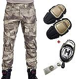 H Welt EU - Pantalones militares del ejército táctico, para airsoft o paintball, pantalones de lucha para hombre con rodilleras, color A-Tacs, tamaño xx-large