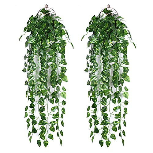 Ousuga Artificial Ivy Garland,2PCS Ivy Garland Fake Vine UV Resistant Greenery Leaves Fake Plants Hanging Vine Plant for Home Kitchen Garden Office Wedding Wall Decoration Indoor Outdoor