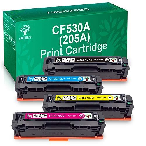 Greensky Sostituzione Cartuccia Toner Compatibile per HP 205A CF530A CF531A CF532A CF533A per HP Color LaserJet Pro MFP M180n MFP M180NW MFP M181fw M181 per HP Color Laserjet Pro M154a M154nw M154