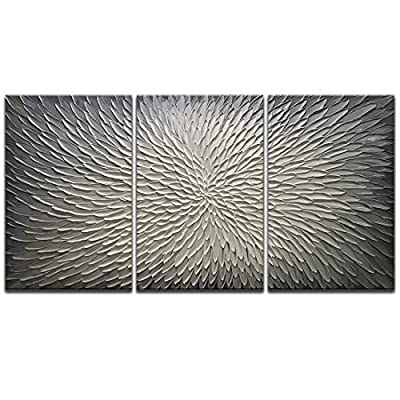 Amei Art Paintings,20x30Inch 3Panel 3D Hand-Painted On Canvas Abstract Artwork Art Wood Inside Framed Hanging Wall Decoration Abstract Painting (Gray) by Amei Art