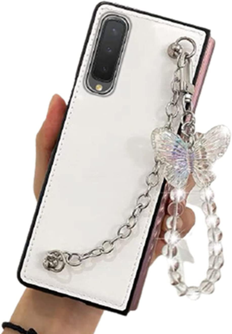 for Samsung Galaxy Z Fold 3 5G Case with Strap Luxury PU Leather Cute Butterfly Design, Soft Lighweight Shockproof Protective Phone Case Cover for Samsung Z Fold 3 for Girls Women 2021 (White)