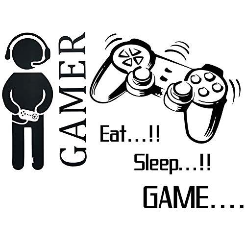 BESLIME Gamer Controller Wand Aufkleber, Wandtattoo Gamer kreatives Spiel, lustiger Vinyl-Videoaufkleber für Familie, Zuhause, Kinder, Wohnzimmer, Schlafzimmer, Spielzimmer, Wanddekoration, 2pcs