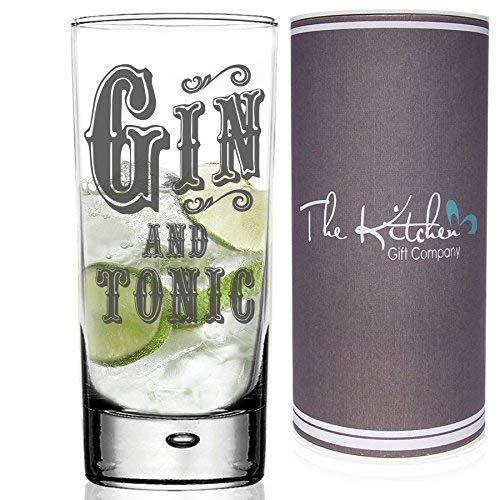 Gin & Tonic Hi Ball G&T Glass. Un regalo divertido para cualquier amante del gin tonic, el vaso de cóctel alto High Ball