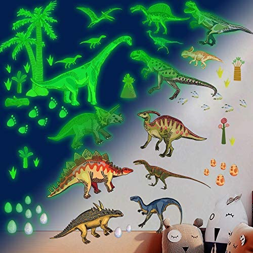 Dinosaur Wall Decals for Boys Room Glow in the Dark Dinosaur Wall Decals stickers for kids Bedroom product image