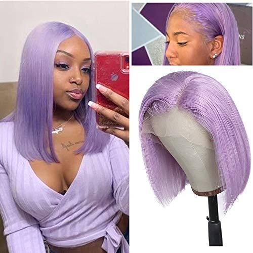 Lace Bob Wigs Lilac Human Hair 13x1x6 Swiss Lace Wigs Pre Plucked Hairline Middle Part Silky Straight Brazilian Virgin Hair 10inch 150% Density Bleached Knots Wigs for Women(Could be Restyled)