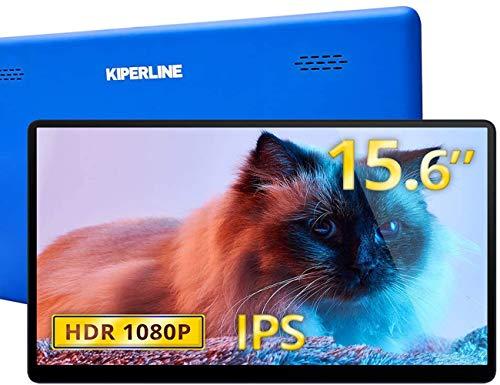 モバイルモニター Kiperline モバイルディスプレイ 15.6インチ ワイヤレスポータブルモニター 1920x1080FHD VESA対応 IPS液晶パネル 薄型 軽量 2年保証 テレワーク リモートワーク 在宅勤務 日本語説明書付 PSE認証済み(ブルー)