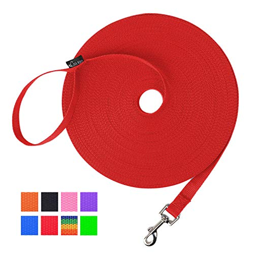 Hi Kiss Dog/Puppy Obedience Recall Training Agility Lead - 15ft 20ft 30ft 50ft 100ft Training Leash - Great for Training, Play, Camping, or Backyard (50 Feet, Red)