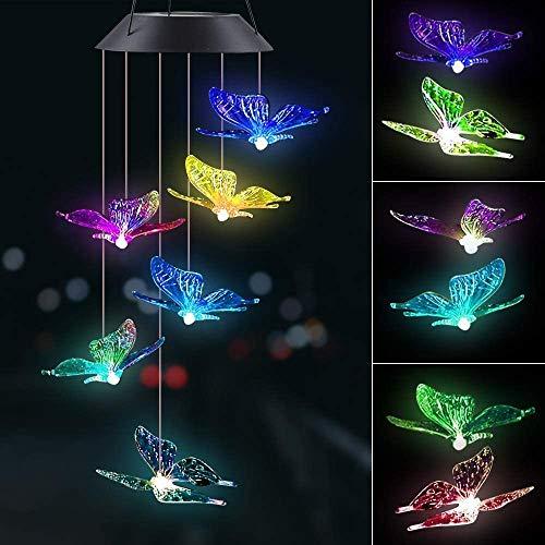 Solarleuchten Windspiele mit Farbwechsel, Give Me Schmetterling LED Solarlicht Garten Hängen Lampe, Geschenk für Mama or Mädchen, Hängeleuchte Innen oder Draussen Deko für Garten,Terrasse, Hof