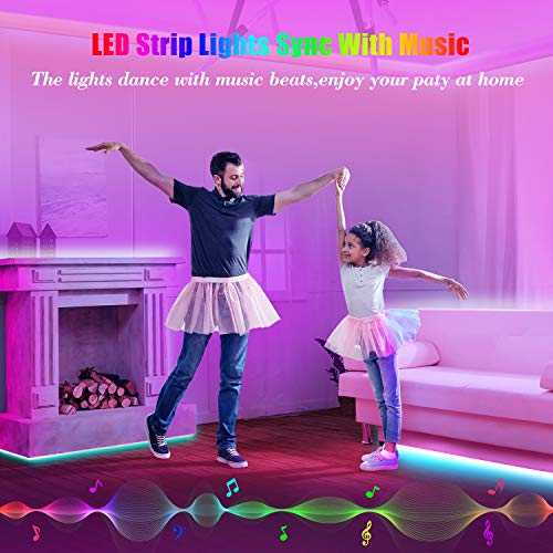 50ft Led Strip Lights, Leeleberd Music Sync Color Changing Led Light Strips, App Control and Remote, Led Lights for Bedroom Living Room Party Home Decoration 7